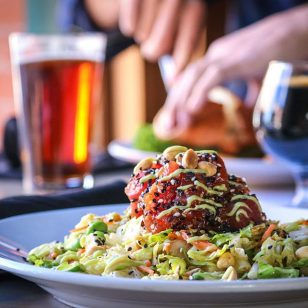 Working up a thirst with our new Thai Tuna Salad with diced ahi, romaine, Napa cabbage, edamame, avocado cream and lime-cilantro dressing. Paired here with housebrewed Railyard Amber Ale.