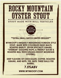 ROCKY MOUNTAIN OYSTER STOUT LIMITED RELEASE APRIL 1ST 2014